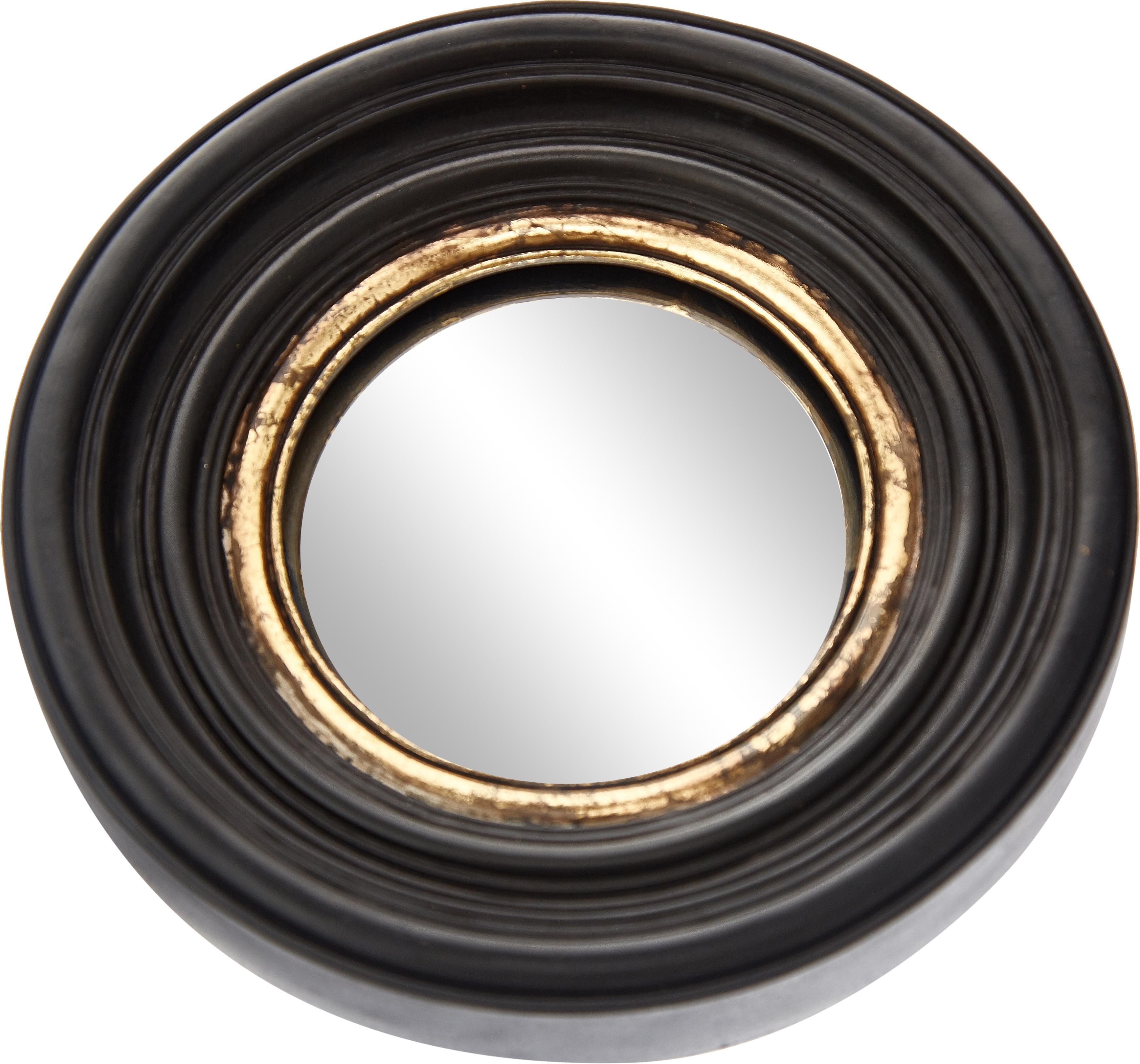 Ronde wandspiegel Resi met gebogen spiegelvlak, Frame: polyresin, Zwart, goudkleurig, Ø 26 cm