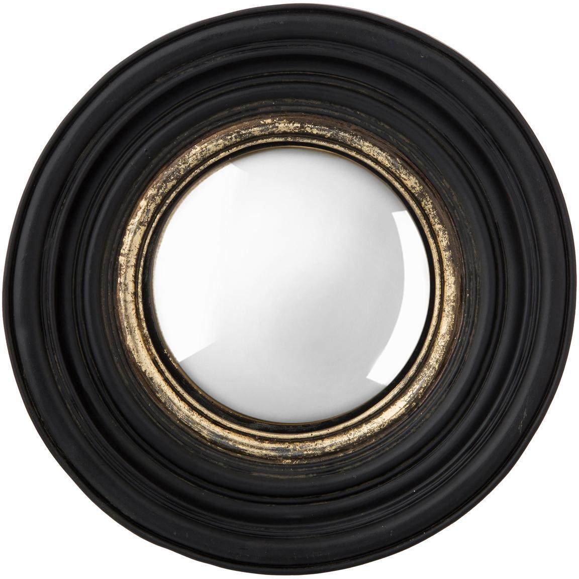 Okrągłe lustro ścienne z zakrzywioną powierzchnią Resi, Czarny, odcienie złotego, Ø 26 cm