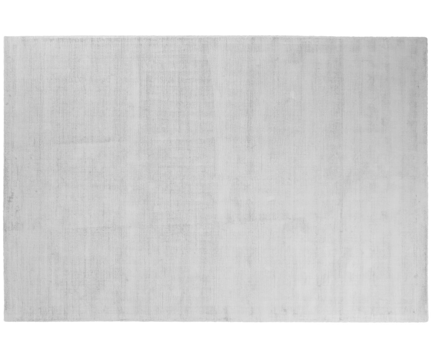 Handgeweven viscose vloerkleed Jane, Bovenzijde: 100% viscose, Onderzijde: 100% katoen, Zilvergrijs, B 200 x L 300 cm (maat L)
