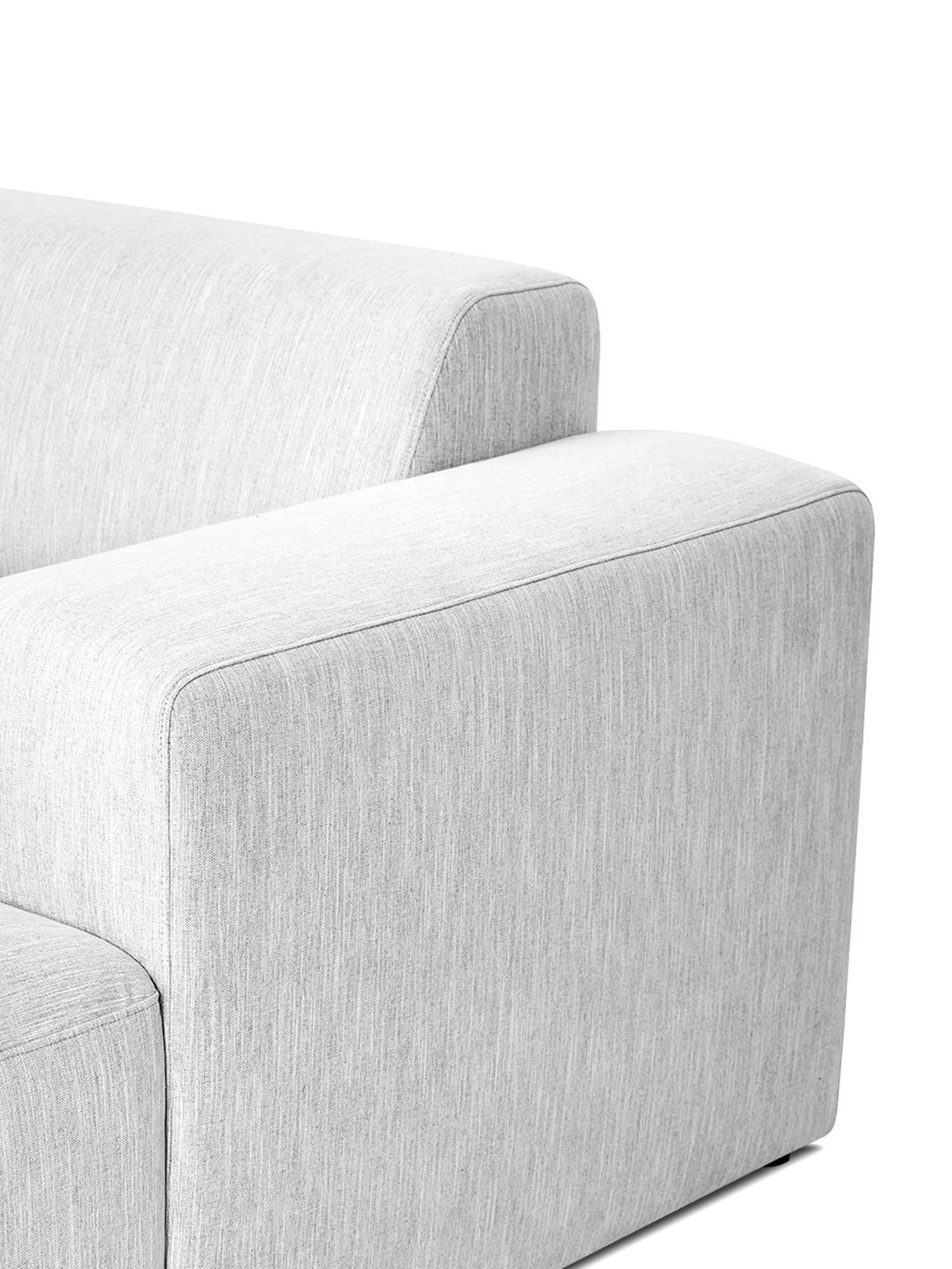 Ecksofa Melva (4-Sitzer), Bezug: Polyester Der hochwertige, Gestell: Massives Kiefernholz, Spa, Füße: Kiefernholz, Webstoff Hellgrau, B 319 x T 144 cm