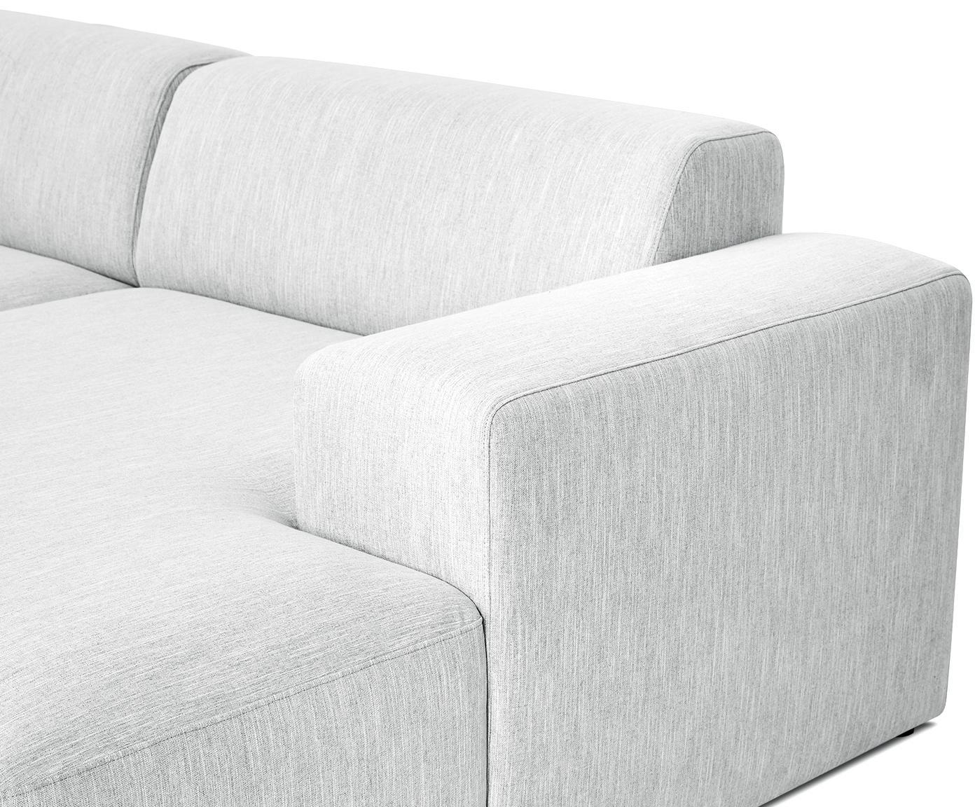 Ecksofa Melva (4-Sitzer), Bezug: Polyester 35.000 Scheuert, Gestell: Massives Kiefernholz, Spa, Webstoff Hellgrau, B 319 x T 144 cm