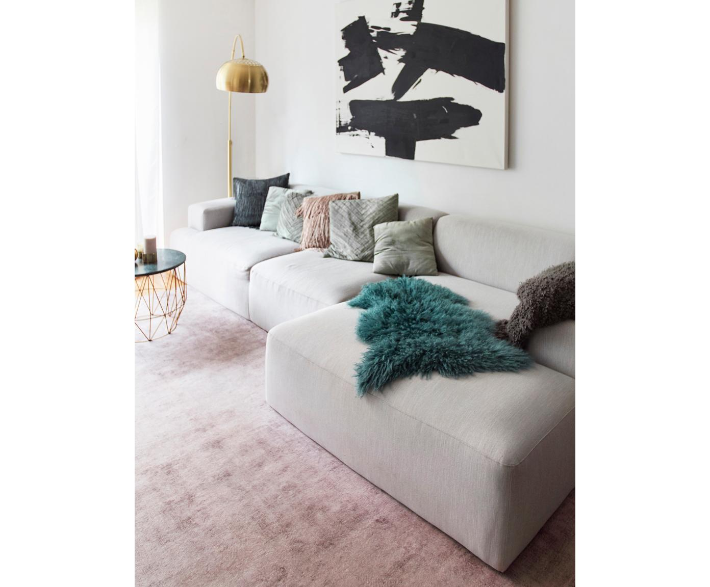 Hoekbank Melva (4-zits), Bekleding: polyester, Frame: massief grenenhout, spaan, Poten: grenenhout, Geweven stof lichtgrijs, B 319 x D 144 cm