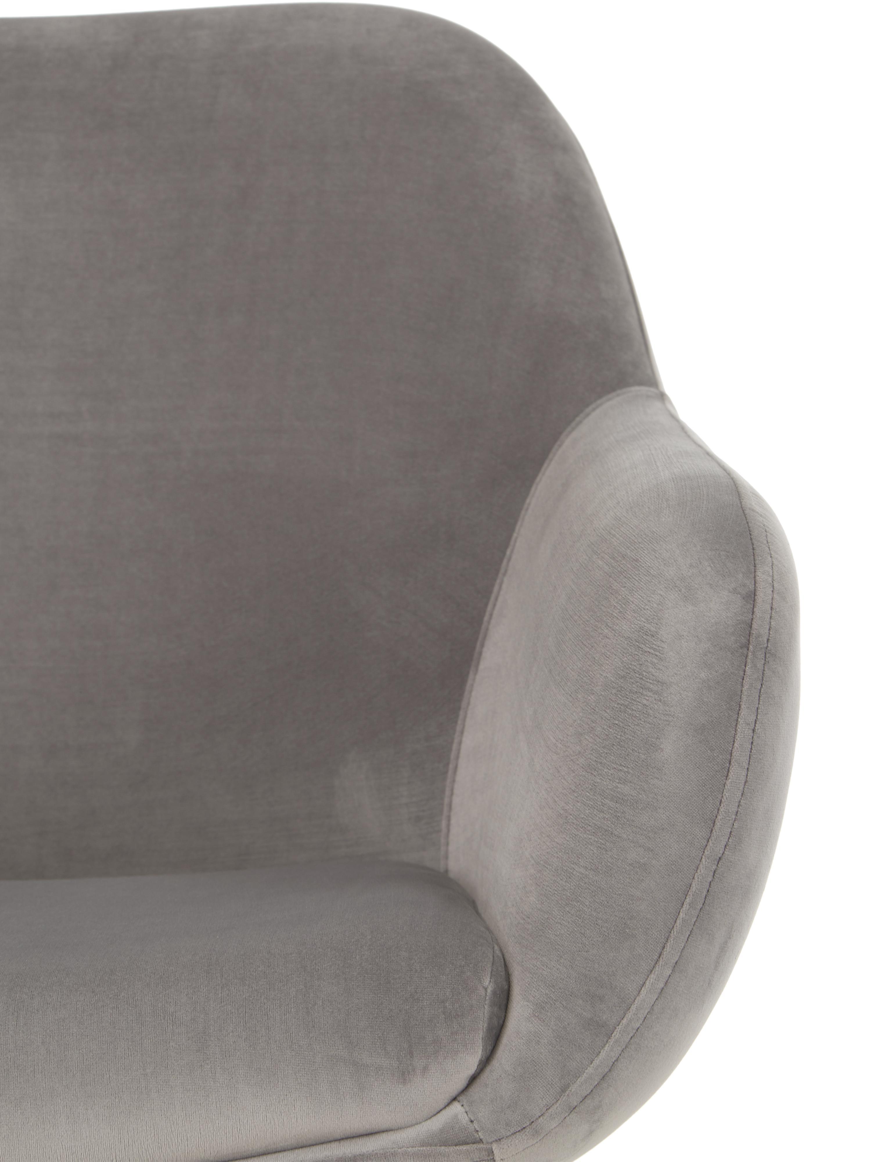 Sillón de terciopelo Jana, Tapizado: terciopelo (poliéster) 25, Patas: metal pintado, Gris, negro, An 72 x F 68 cm