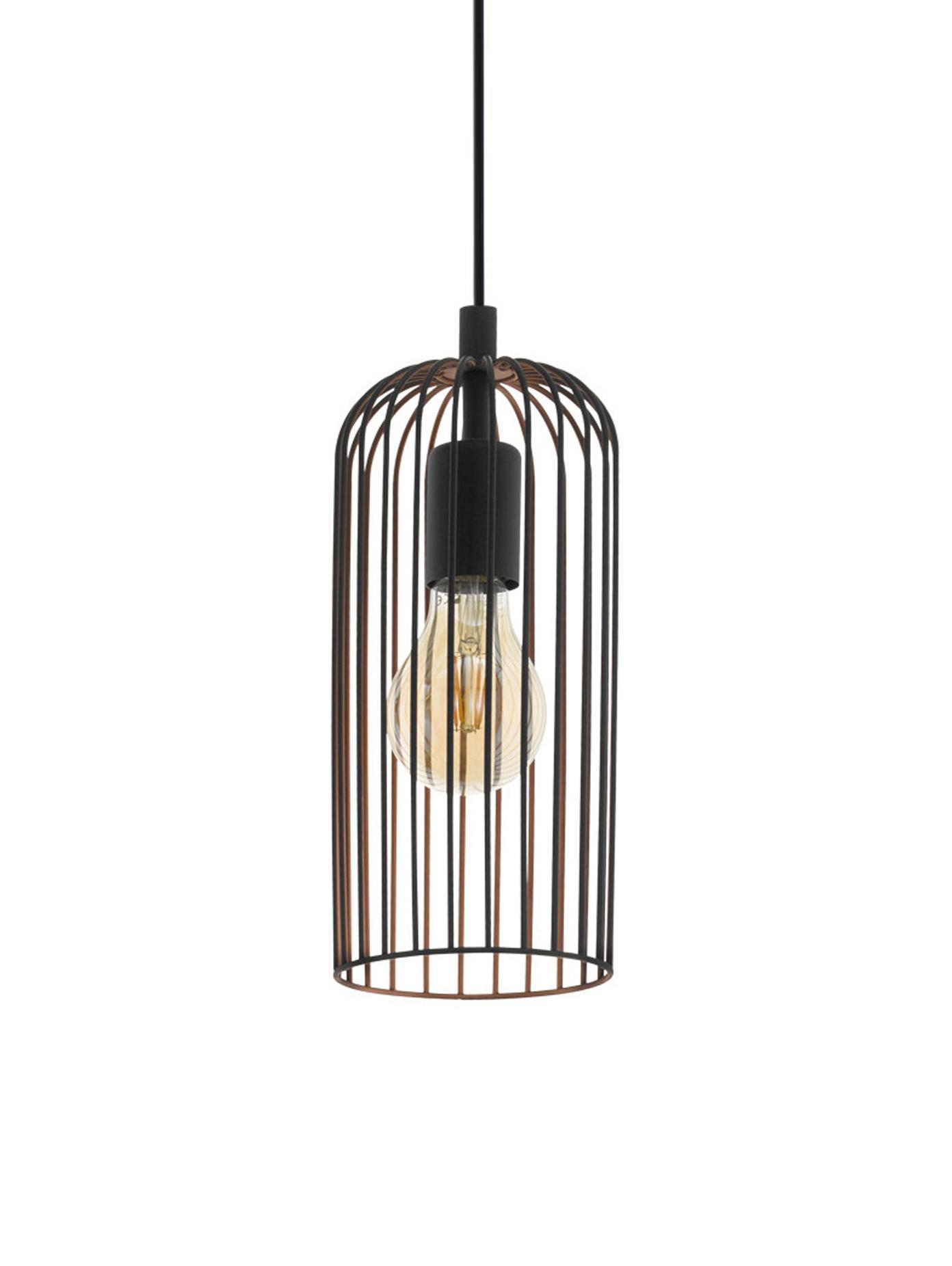 Kleine retro hanglamp Roccamena, Zwart, Ø 13 x H 30 cm