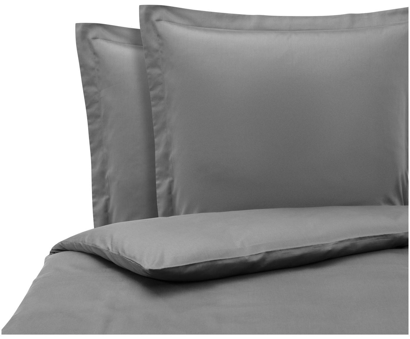 Pościel z satyny bawełnianej Premium, Ciemny szary, 200 x 200 cm