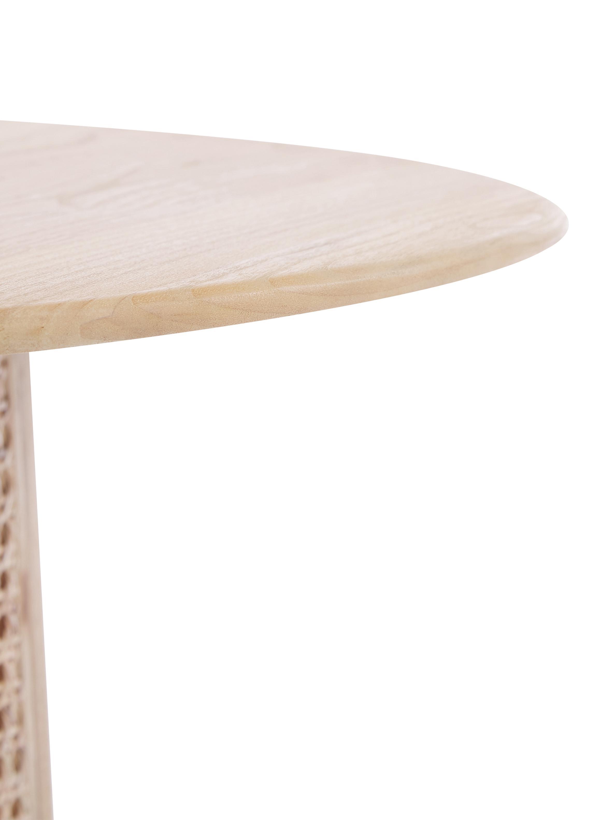 Runder Couchtisch Retro mit Wiener Geflecht, Wiener Geflecht: Rattan, Sunkai Holz, Ø 80 x H 30 cm