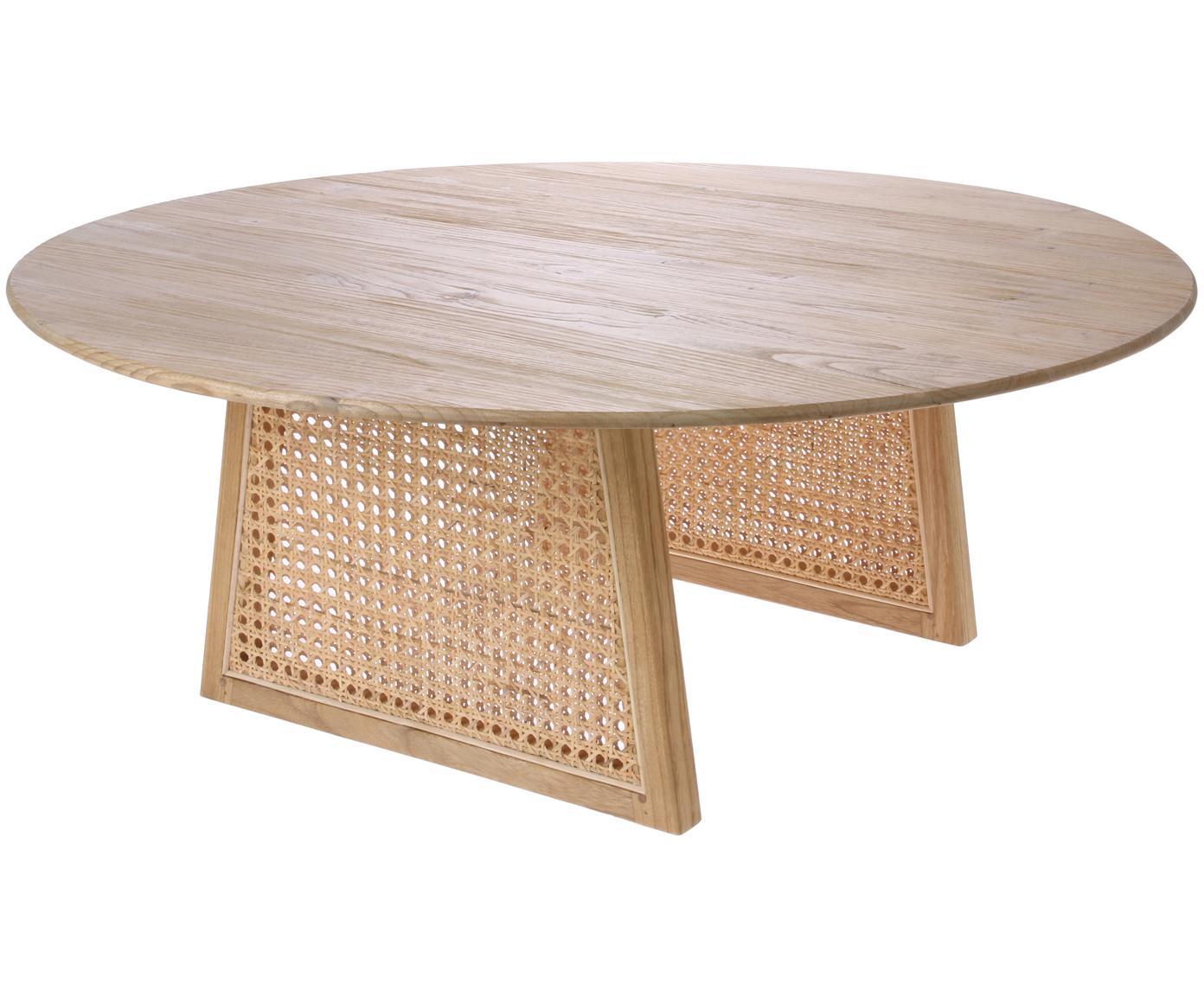 Tavolino da salotto rotondo in vimini Retro, Intreccio viennese: rattan, Legno sunkai, Ø 80 x Alt. 30 cm