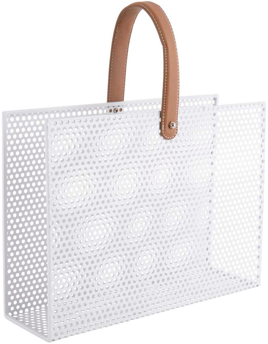 Revistero Perkys, Metal pintado, Blanco, marrón, Ancho 30 x Alto 33 cm