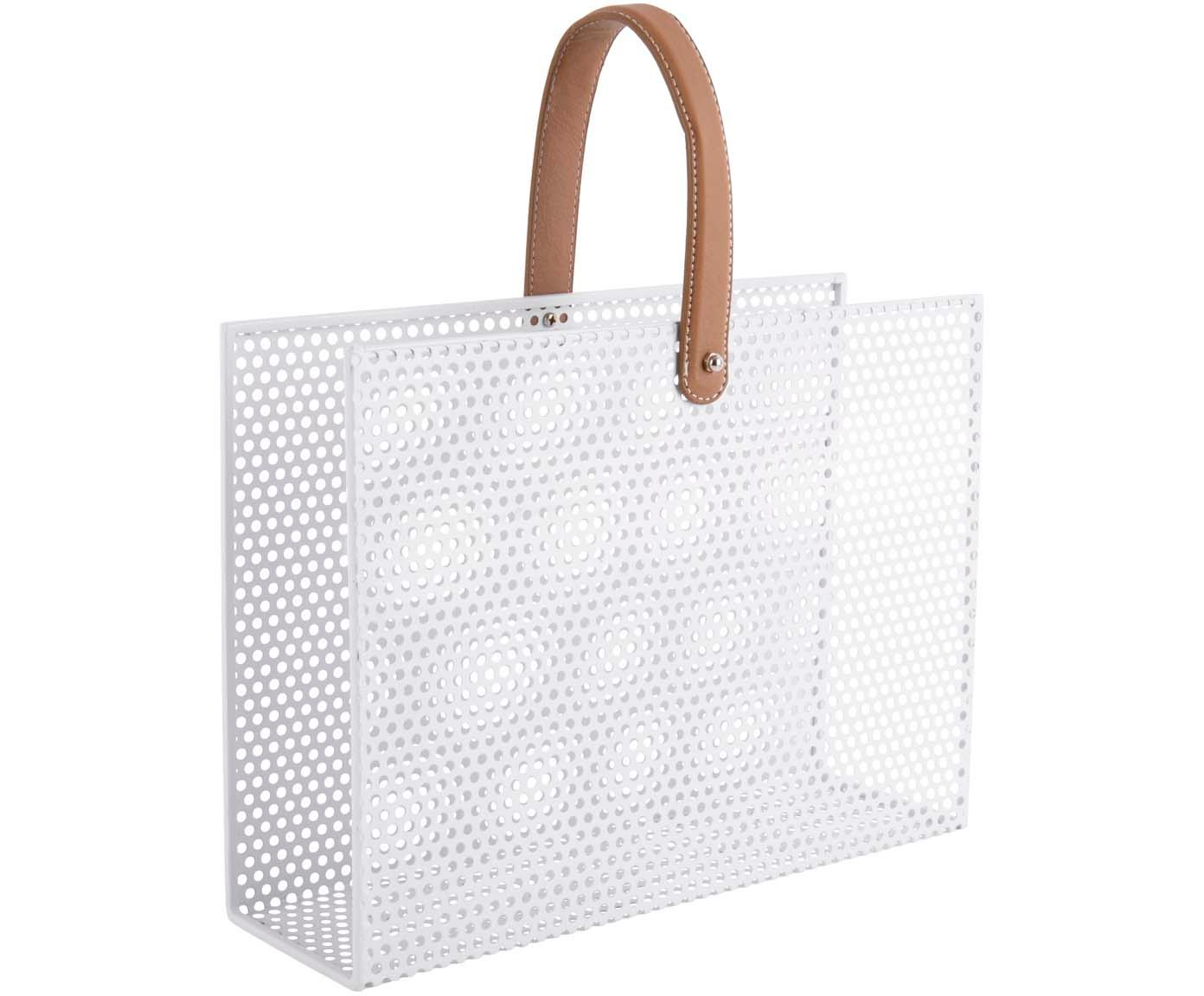 Zeitschriftenhalter Perkys, Metall, lackiert, Weiß, Braun, 30 x 33 cm