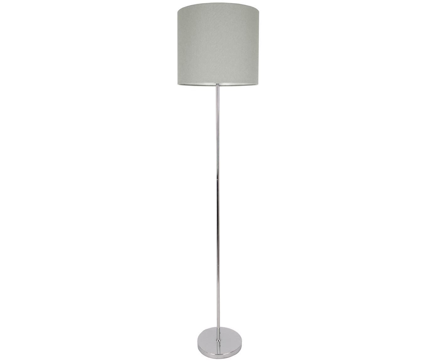 Lampadaire en métal chromé Dita, Pied de lampe: chrome Abat-jour: gris Câble: noir