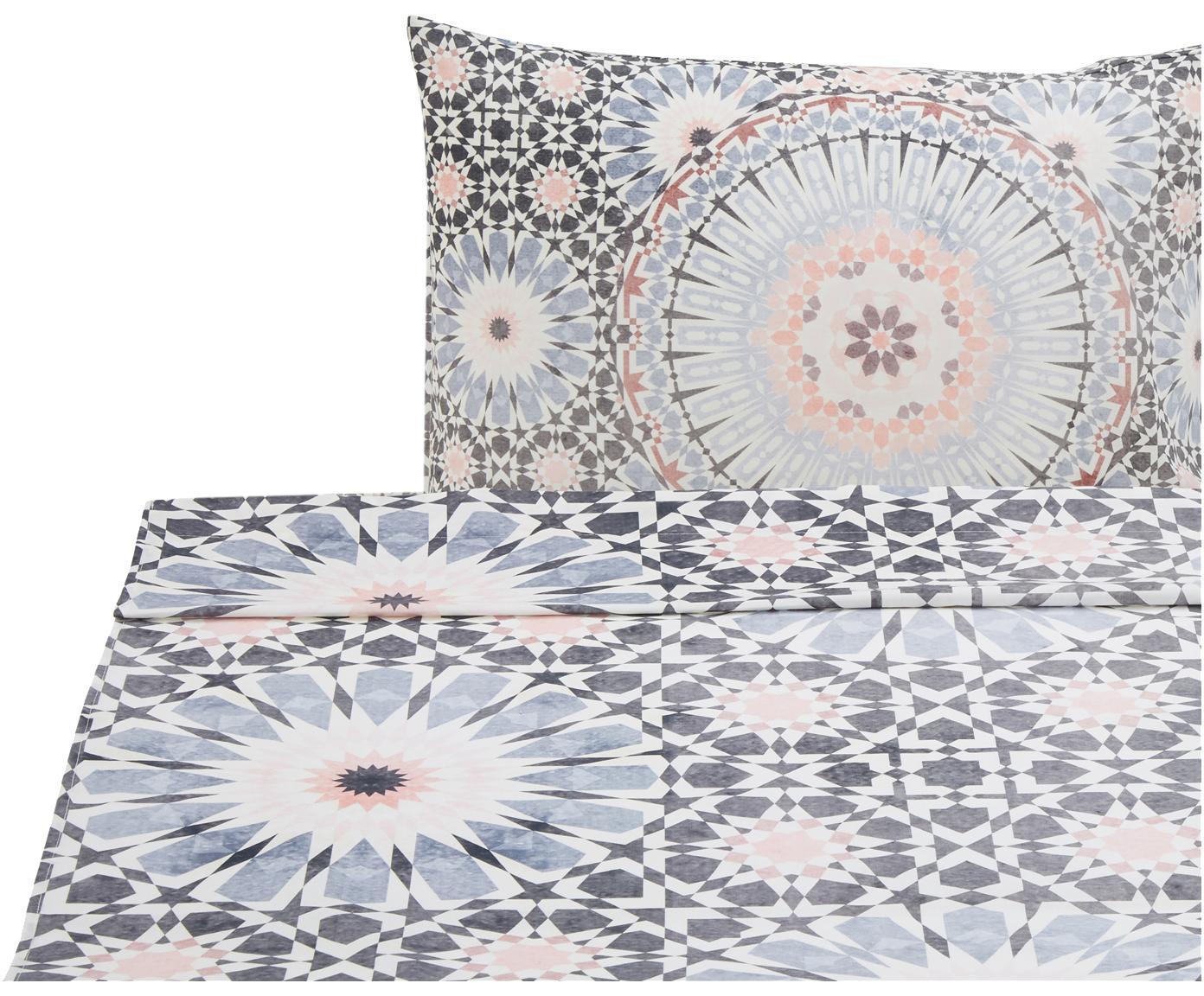 Sábana encimera Bohemia, Algodón, Blanco, tonos azules y rosas, Cama 90 cm (160 x 270 cm)