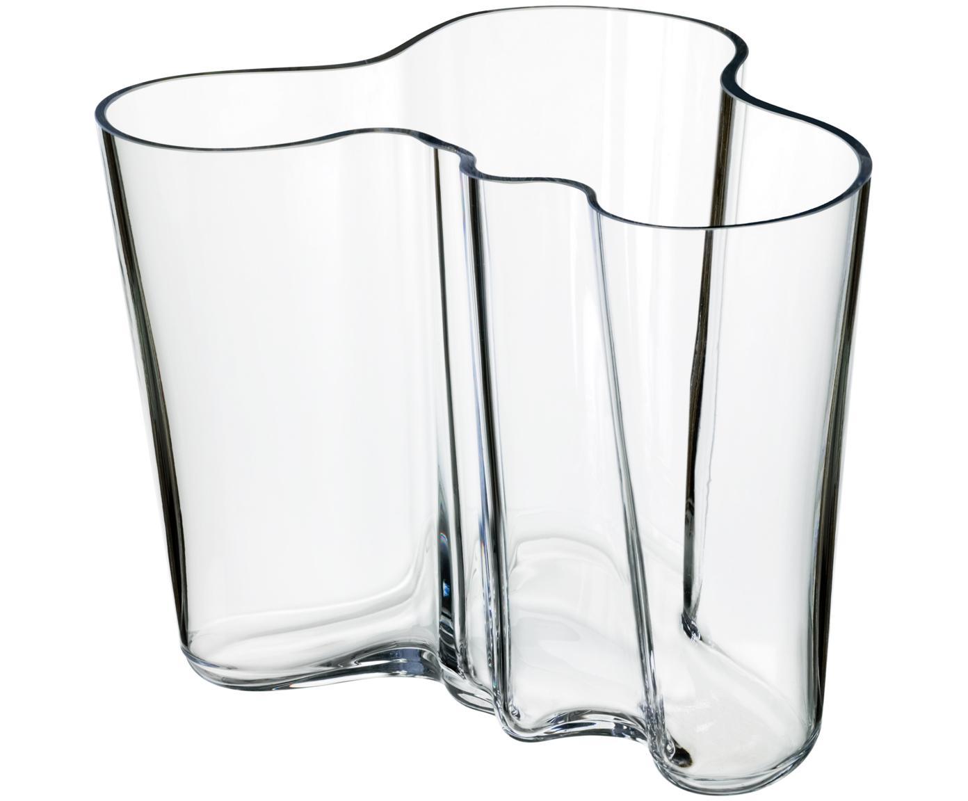 Design vaas Alvar Aalto, Glas, Transparant, H 16 cm