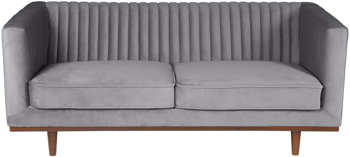 Divano 2 posti in velluto grigio Dante, Rivestimento: poliestere 50.000 cicli d, Piedini: legno di caucciù vernicia, Velluto grigio scuro, Larg. 174 x Prof. 87 cm