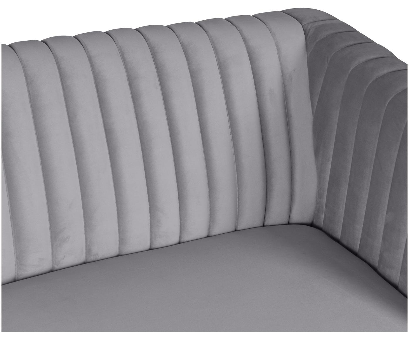 Fluwelen bank Dante (2-zits), Bekleding: polyester fluweel, Poten: gelakt rubberhout, Bekleding: donkergrijs. Poten: rubberhoutkleurig, B 174  x D 87 cm