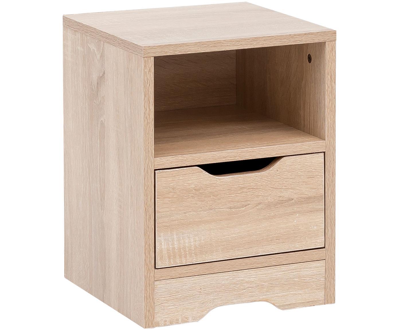 Nachttisch Wohnling mit Schublade, Spanplatte, furniert, melaminbeschichtet, Eichenholz, 31 x 43 cm