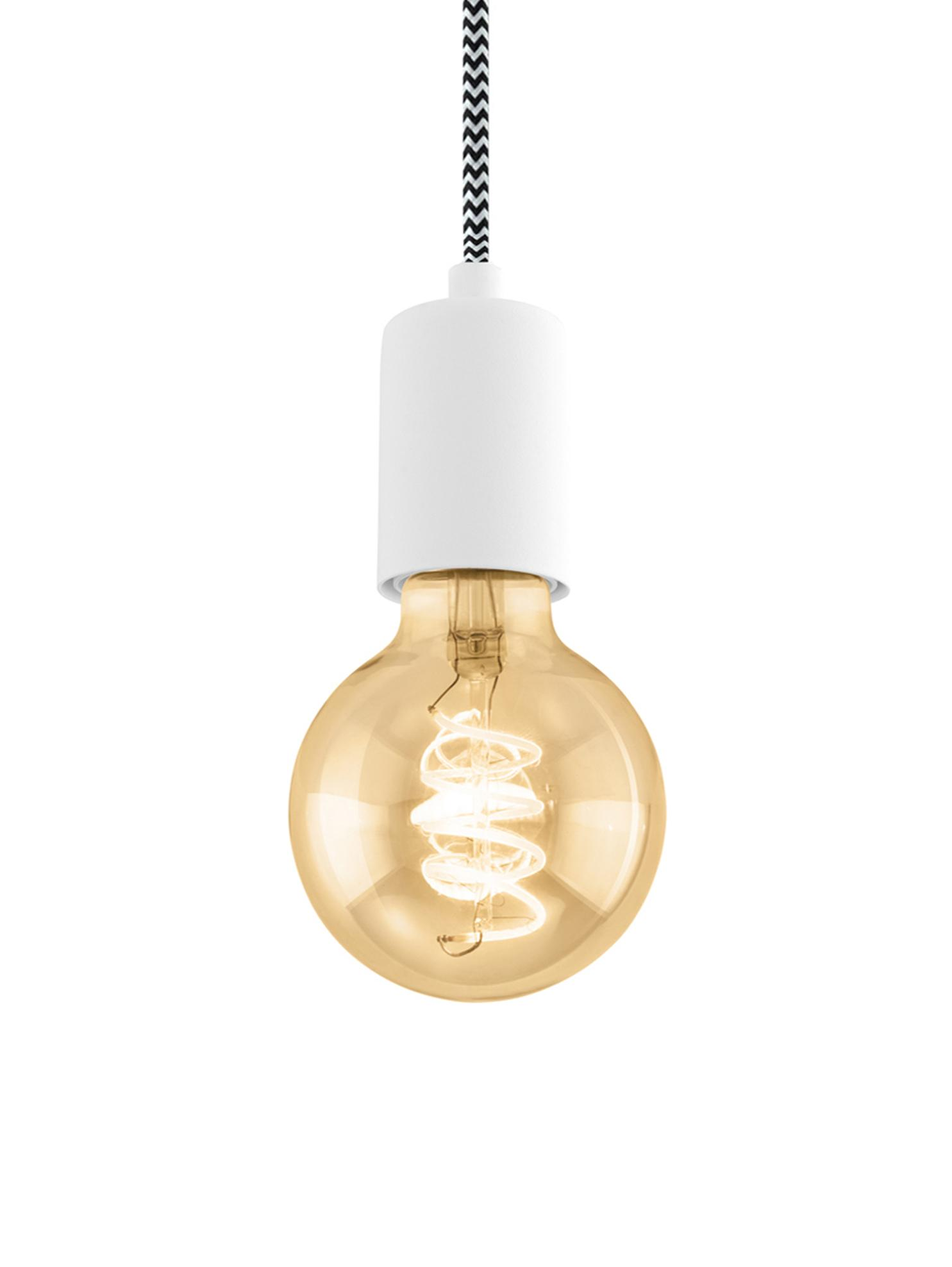 Lámpara de techo Trey, Anclaje: metal con pintura en polv, Cable: cubierto en tela, Blanco mate, Ø 10 x Al 8 cm