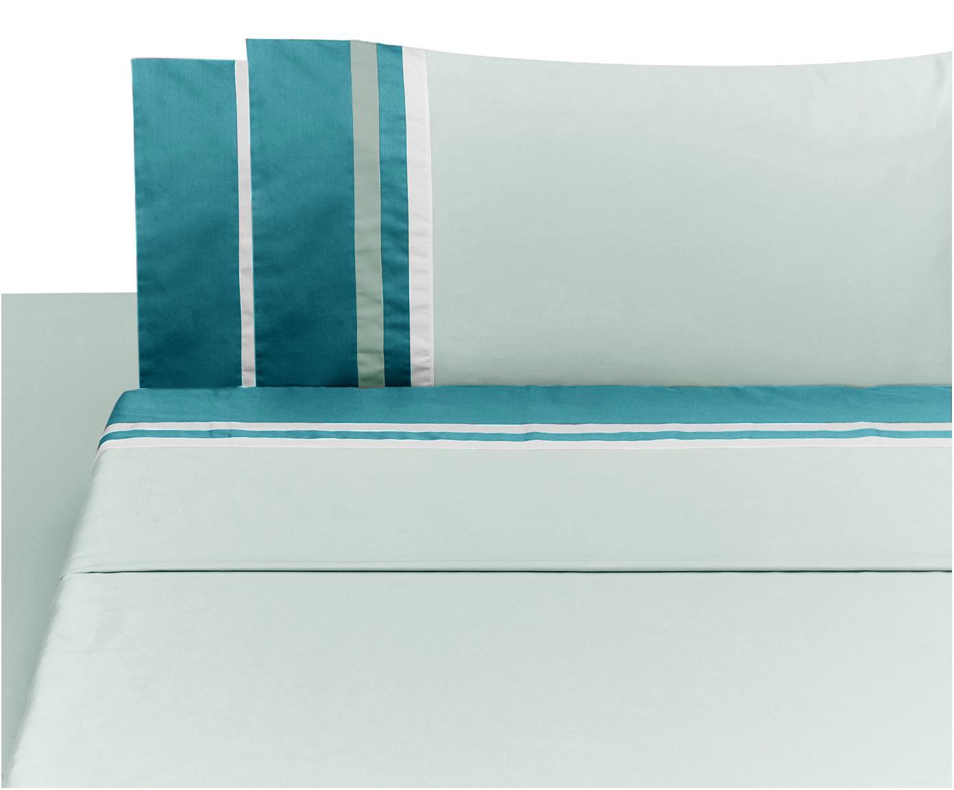 Set lenzuola in raso di cotone Kubric, 4 pz, Menta, bianco, 260 x 295 cm