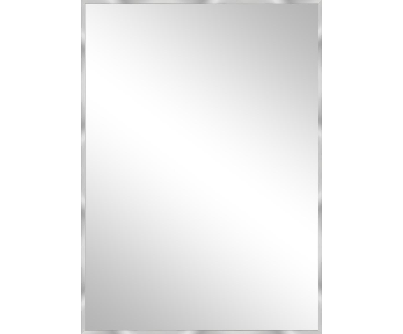 Specchio da parete con cornice Alpha, Cornice: alluminio, Superficie dello specchio: lastra di vetro, Alluminio, Larg. 50 x Alt. 70 cm