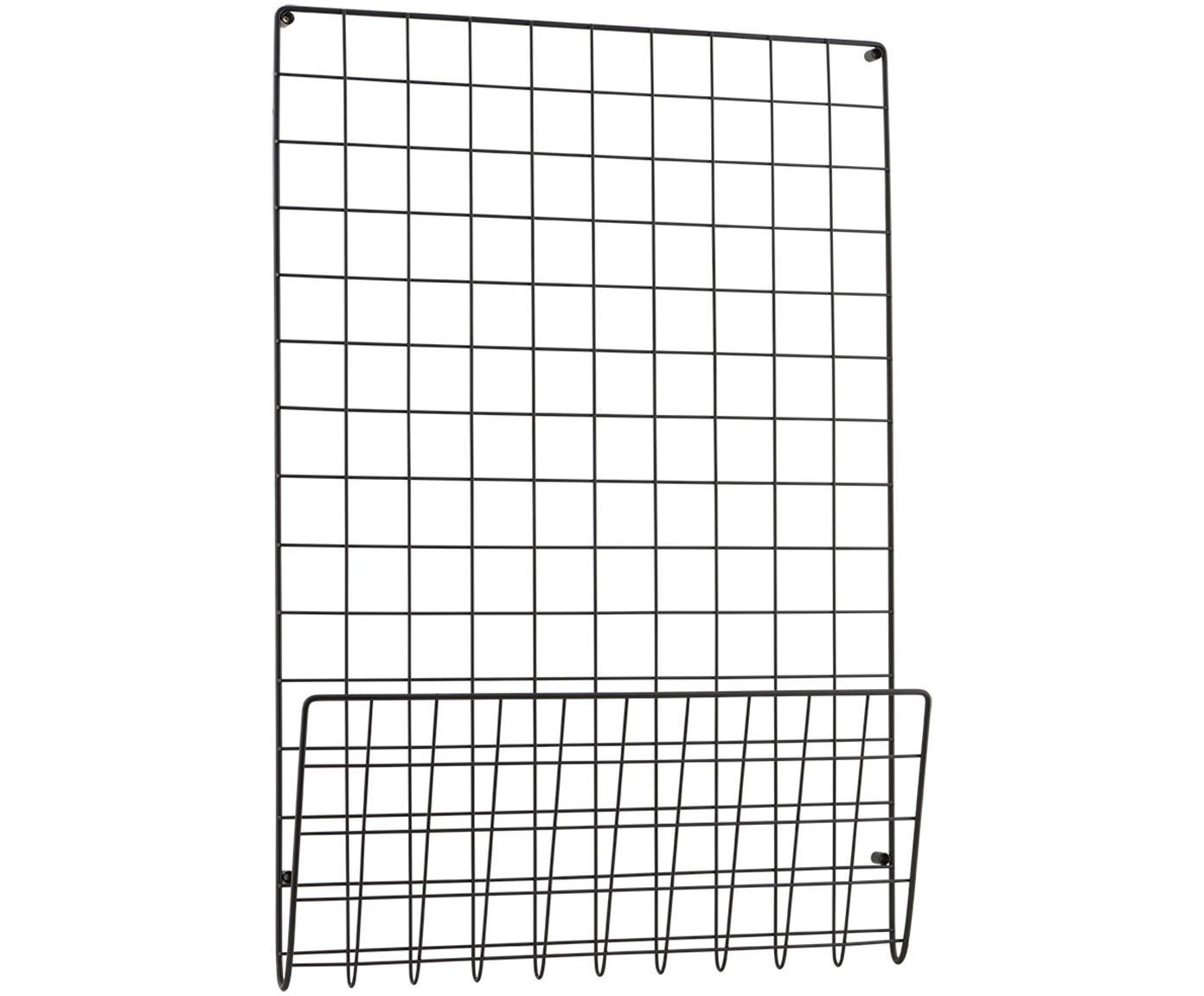 Tablica ścienna z miejscem do przechowywania Mesh, Stal lakierowana, Czarny, S 51 x W 72 cm