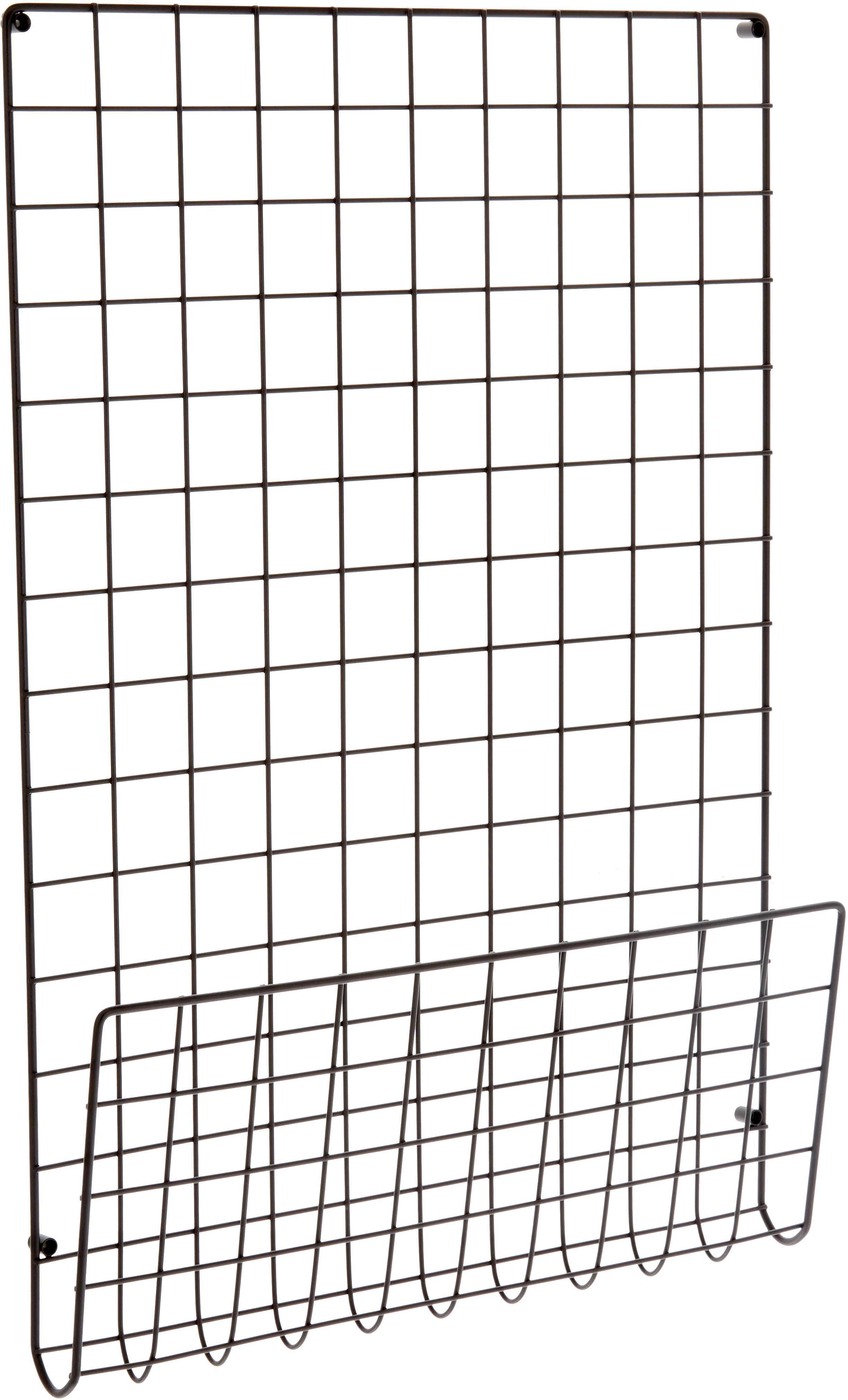 Bacheca a griglia Mesh, Acciaio verniciato, Nero, Larg. 51 x Alt. 72 cm