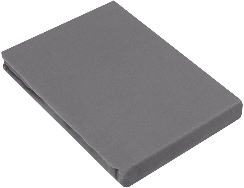 Boxspring-Spannbettlaken Comfort, Baumwollsatin, Webart: Satin, leicht glänzend, Dunkelgrau, 200 x 200 cm