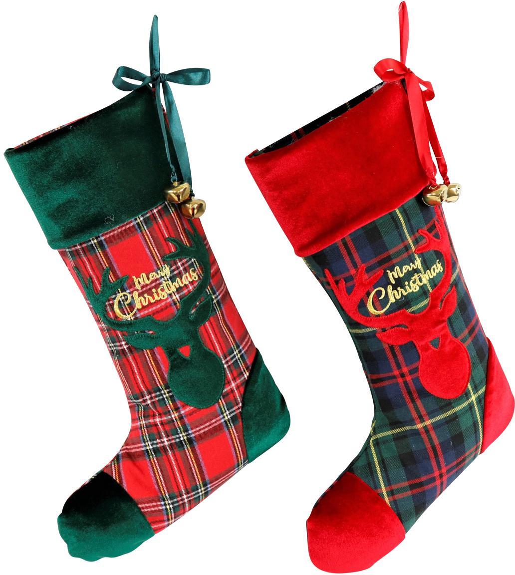 Set de calcetines decorativos Merry Christmas, 2pzas., Poliéster, algodón, Verde, rojo, negro, An 26 x L 47 cm