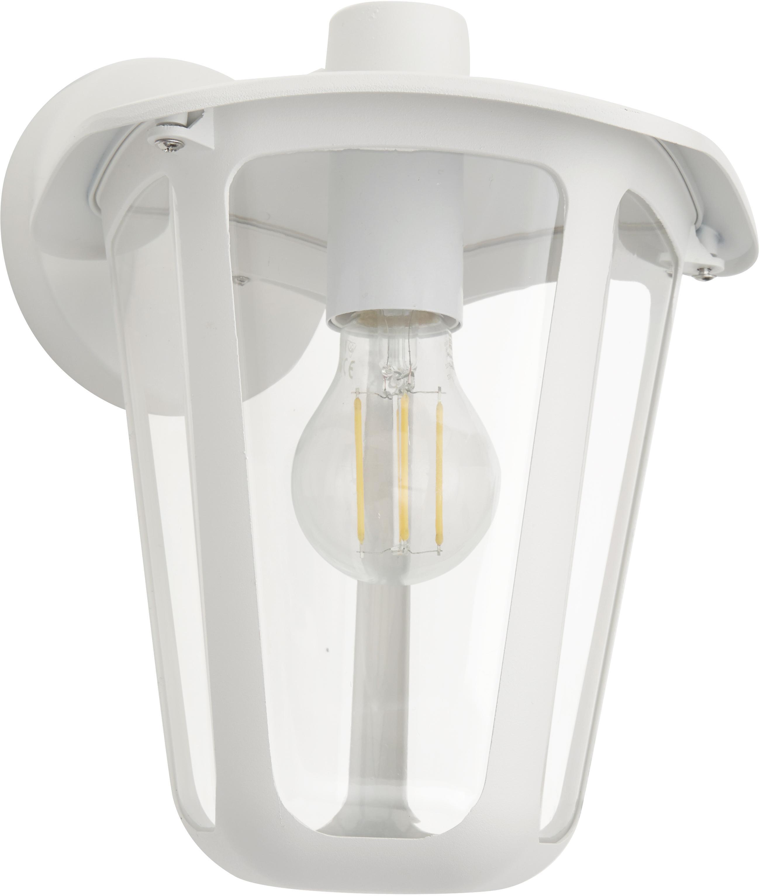 Aussenwandleuchte Monreale in Weiss, Gehäuse: Aluminium, Lampenschirm: Kunststoff, Weiss, 23 x 28 cm