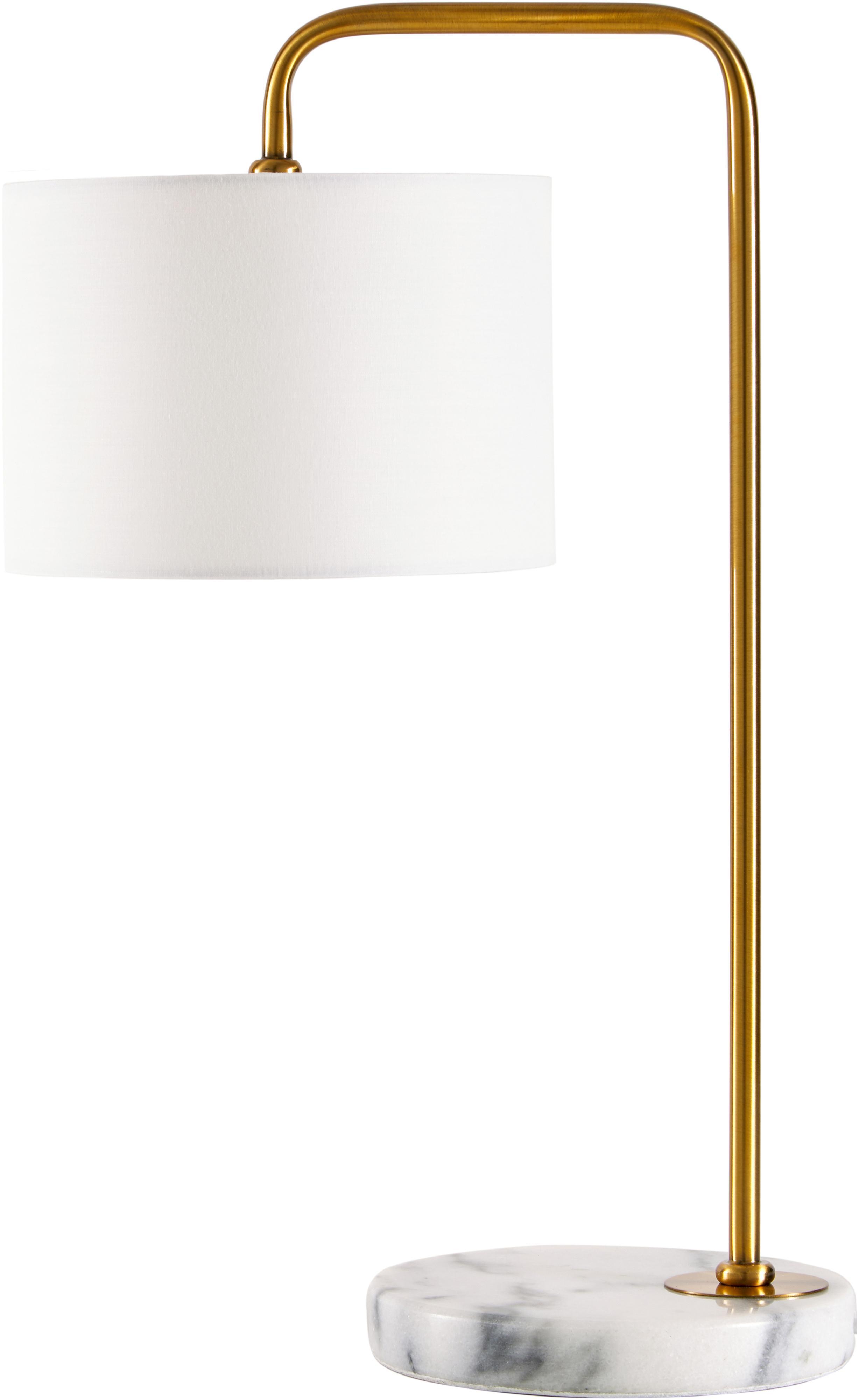 Tafellamp Montreal met marmeren voet, Lampenkap: textiel, Lampvoet: marmer, Frame: gegalvaniseerd metaal, Wit, goudkleurig, Ø 20 x H 49 cm