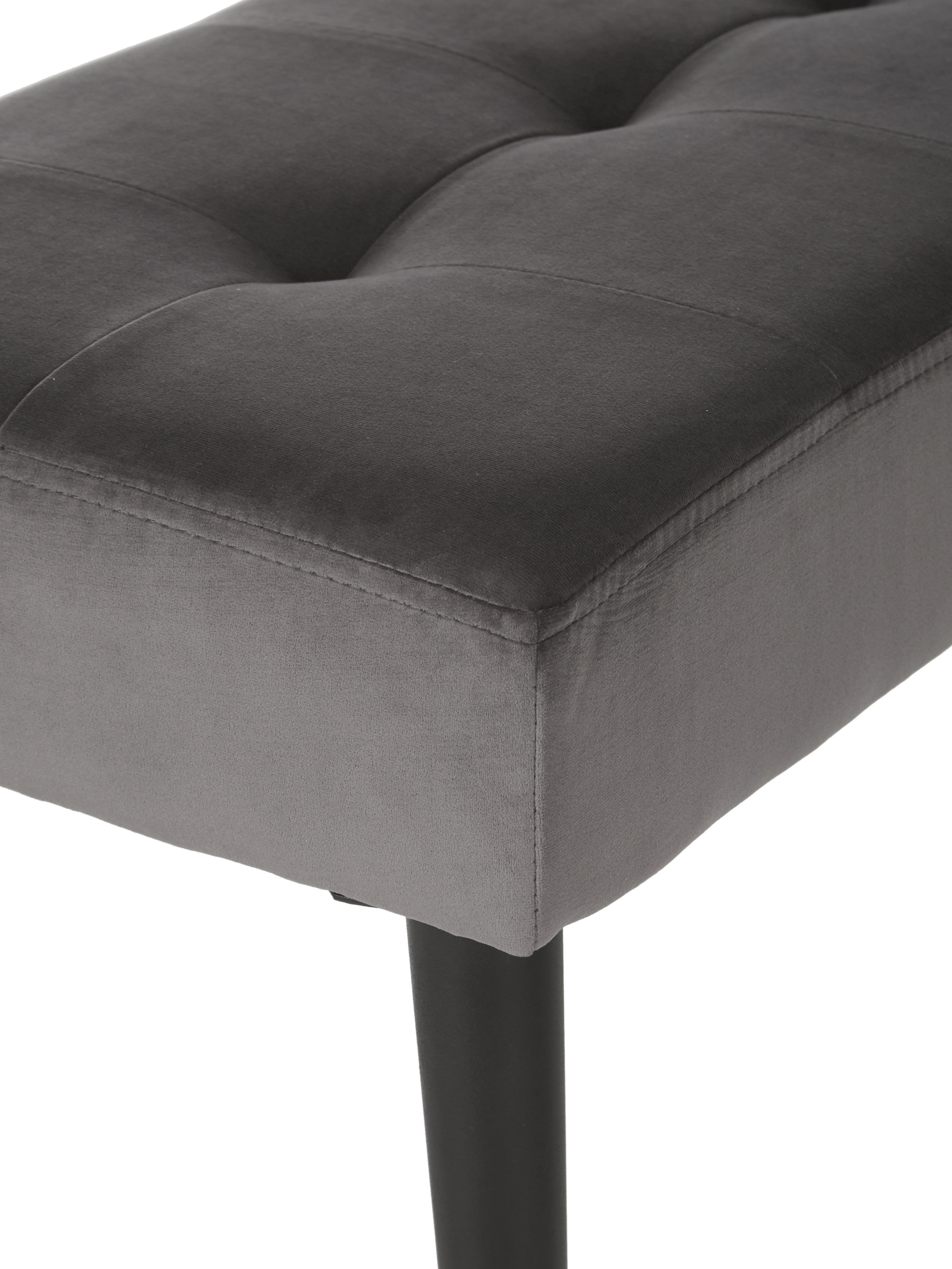 Samt-Sitzbank Glory, Bezug: Polyestersamt 25.000 Sche, Gestell: Metall, pulverbeschichtet, Dunkelgrau, Schwarz, 95 x 45 cm