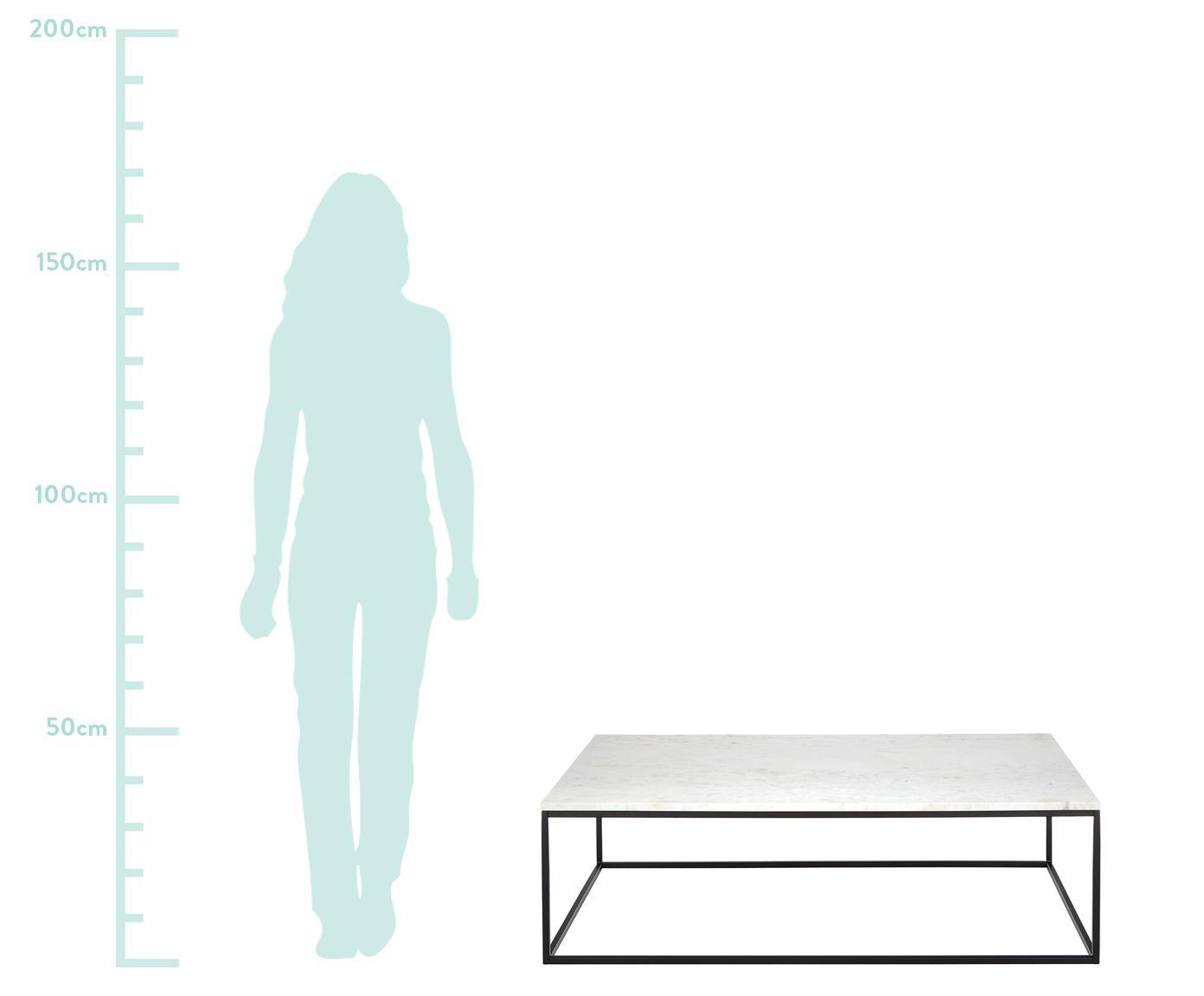 Mesa de centro en mármol Alys, Tablero: mármol natural, Estructura: metal, pintura en polvo, Mármol blanco, negro, An 120 x F 75 cm