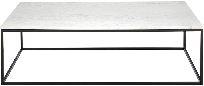 Marmor-Couchtisch Alys, Tischplatte: Marmor, Gestell: Metall, pulverbeschichtet, Weißer Marmor, Schwarz, 120 x 35 cm