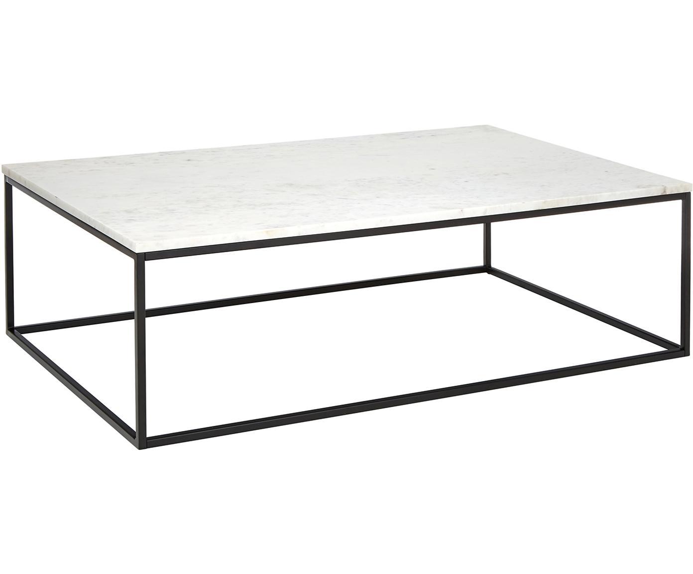 Marmor-Couchtisch Alys, Tischplatte: Marmor, Gestell: Metall, pulverbeschichtet, Weißer Marmor, Schwarz, B 120 x T 75 cm