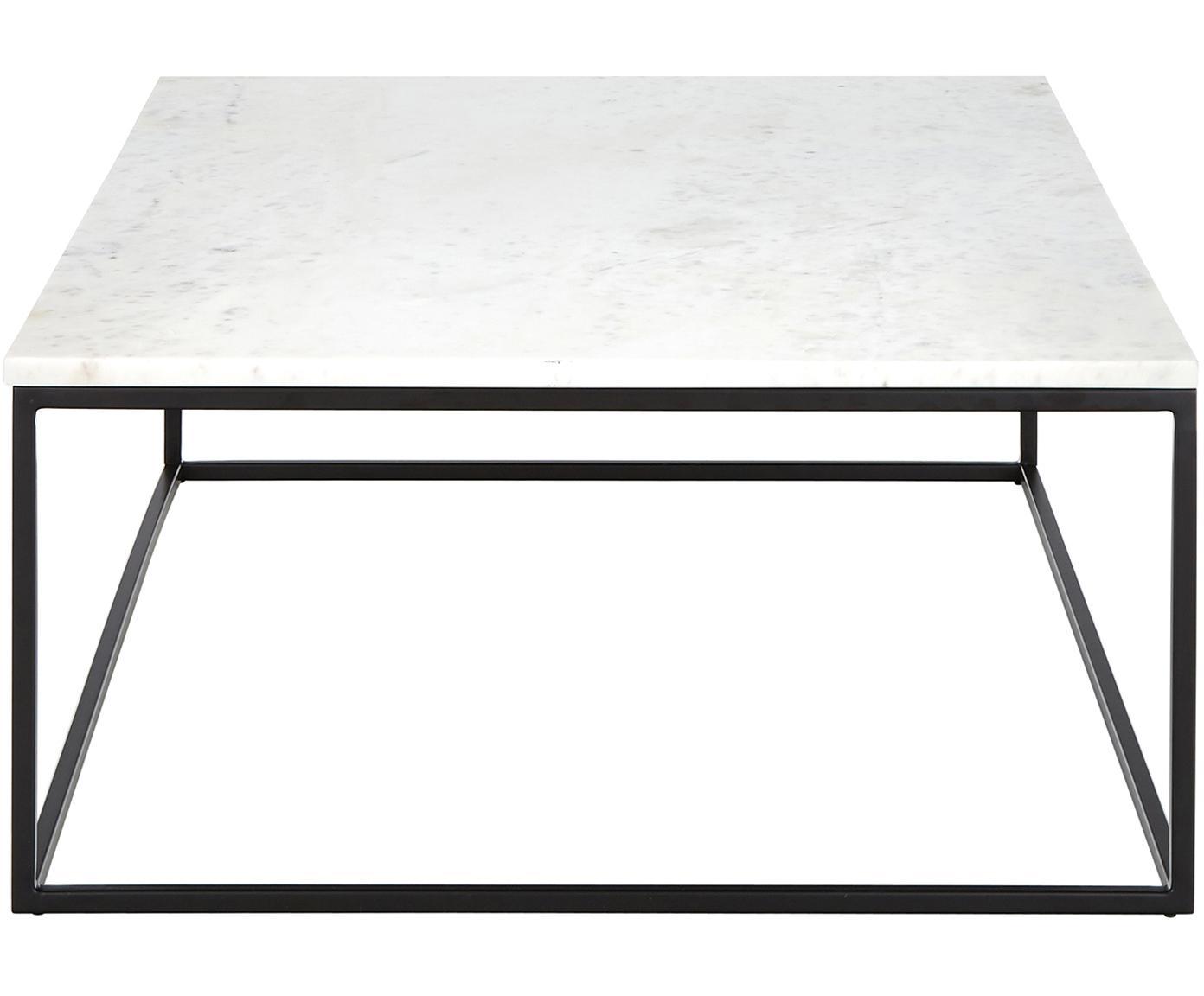 Stolik kawowy z marmuru Alys, Blat: marmur, Stelaż: metal malowany proszkowo, Jasny marmur, czarny, S 120 x G 75 cm
