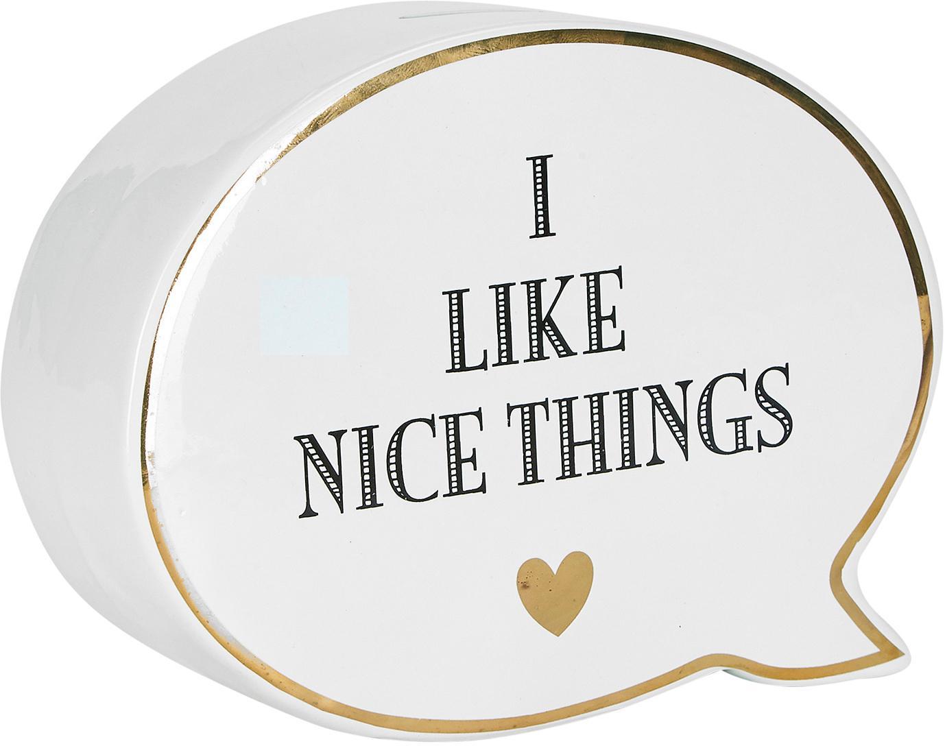 Salvadanaio Nice Things, Ceramica, Bianco, nero, Larg. 18 x Alt. 14 cm