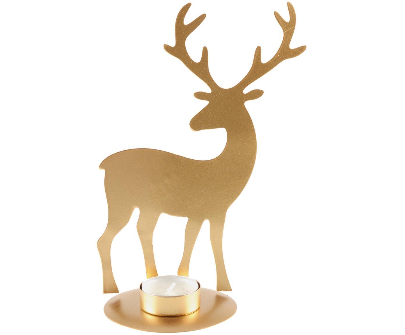 Portalumini Deer, Metallo rivestito, Dorato, Larg. 14 x Alt. 21 cm
