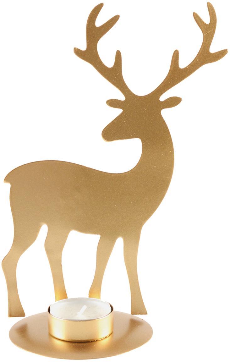 Świecznik na podgrzewacze Deer, Metal powlekany, Odcienie złotego, S 14 x W 21 cm