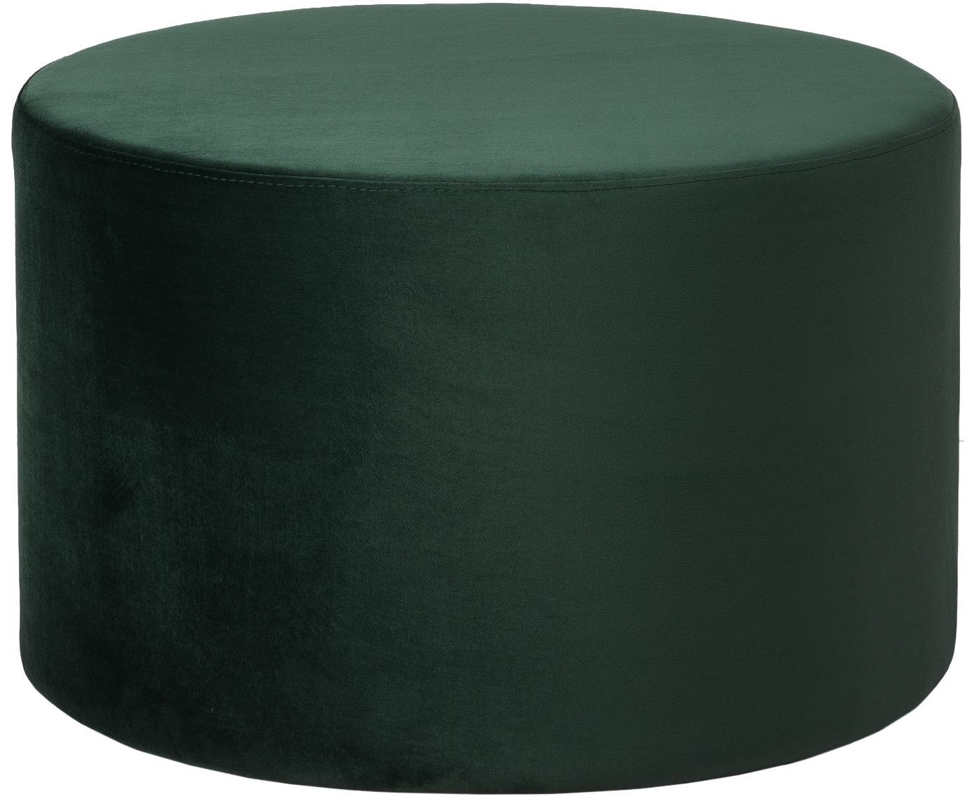 Pouf in velluto Daisy, Rivestimento: velluto (poliestere), Struttura: pannello di fibra a media, Verde scuro, Ø 62 x Alt. 41 cm