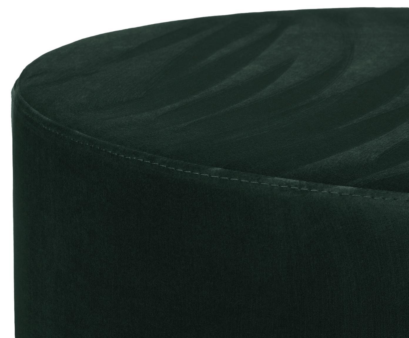 Samt-Hocker Daisy, Bezug: Samt (Polyester) 15.000 S, Rahmen: Mitteldichte Holzfaserpla, Samt Dunkelgrün, Ø 54 x H 40 cm