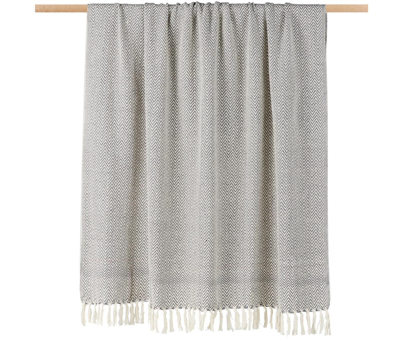 Plaid Zig, 100% Baumwolle, Grau, 130 x 170 cm