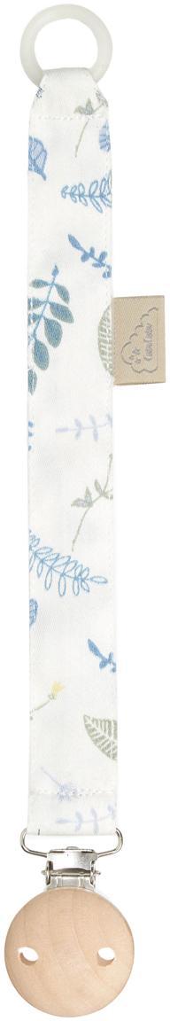 Fopspeenhouder Pressed Leaves, Wit, blauw, grijs, geel, L 20 cm