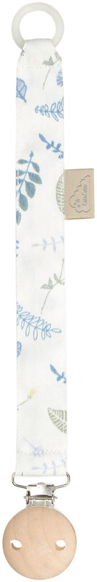 Schnullerkette Pressed Leaves aus Bio-Baumwolle, Weiß, Blau, Grau, Gelb, L 20 cm