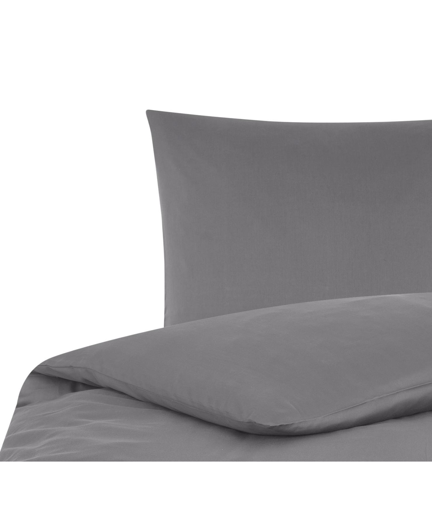 Baumwollsatin-Bettwäsche Comfort in Dunkelgrau, Webart: Satin Fadendichte 250 TC,, Dunkelgrau, 155 x 220 cm + 1 Kissen 80 x 80 cm