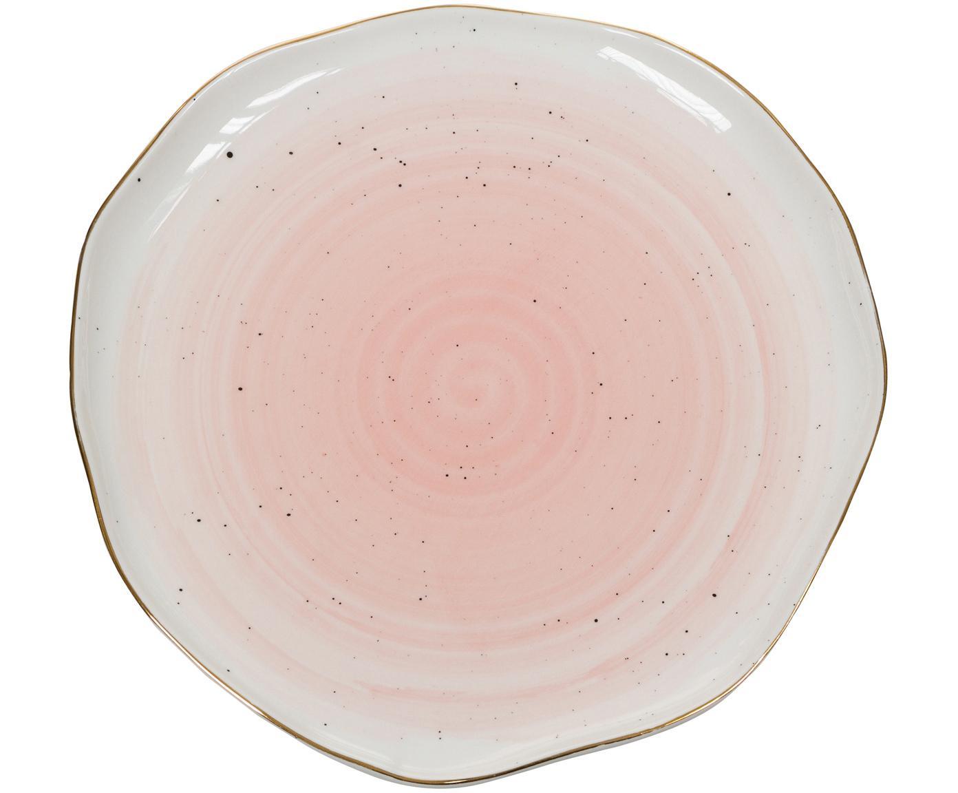 Handgemachte Speiseteller Bol mit Goldrand, 2 Stück, Porzellan, Rosa, Ø 26 x H 3 cm