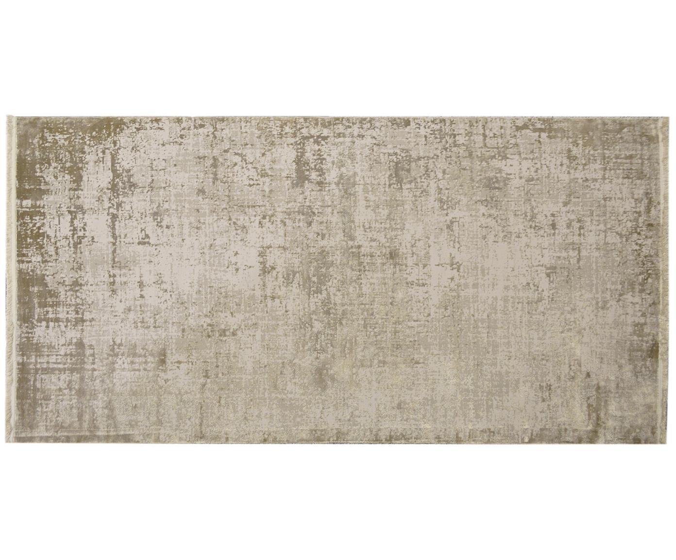 Vintage vloerkleed Cordoba met franjes, glinsterend, Bovenzijde: 70% acryl, 30% viscose, Onderzijde: katoen, Beigetinten, B 80 x L 150 cm (maat XS)