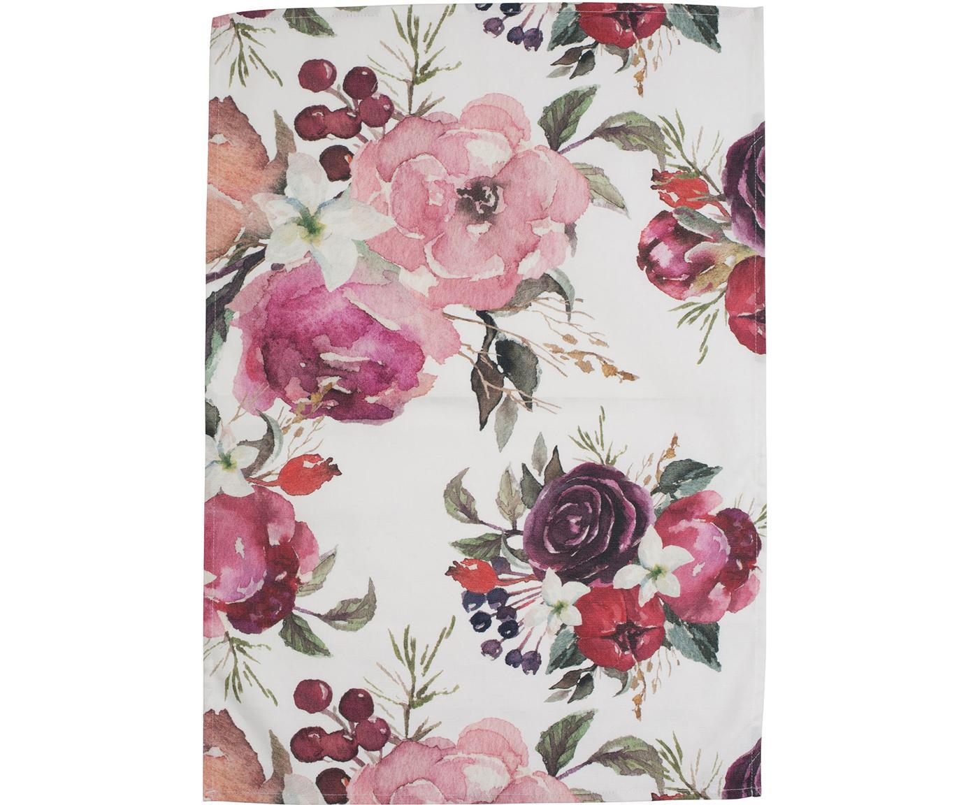 Geschirrtücher Florisia mit Blumenmuster, 2 Stück, Baumwolle, Rosa, Weiß, 50 x 70 cm