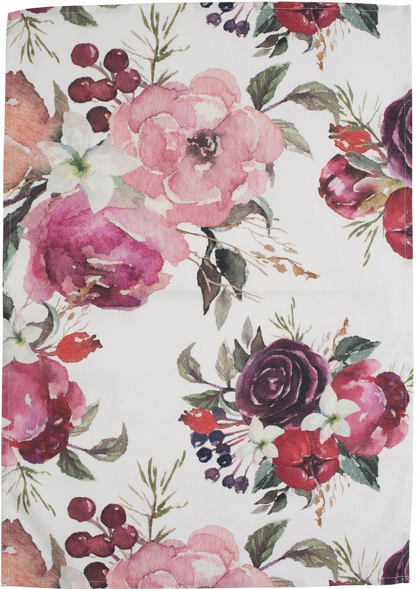Theedoeken Florisia met bloemmotief, 2 stuks, Katoen, Roze, wit, 50 x 70 cm