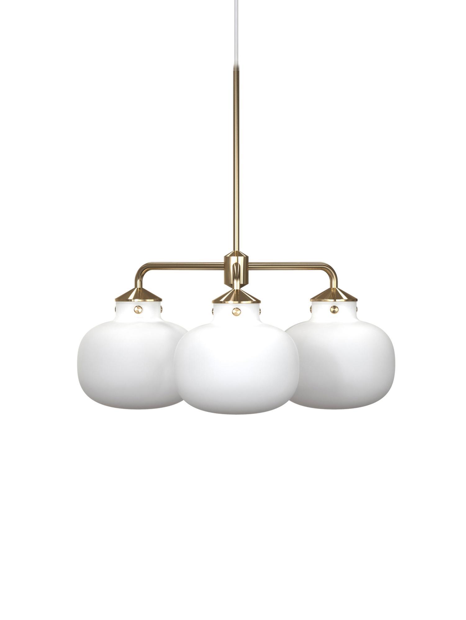 Lampada a sospensione Raito, Vetro opale, metallo, Bianco opalino, ottone, Ø 57 x Alt. 55 cm