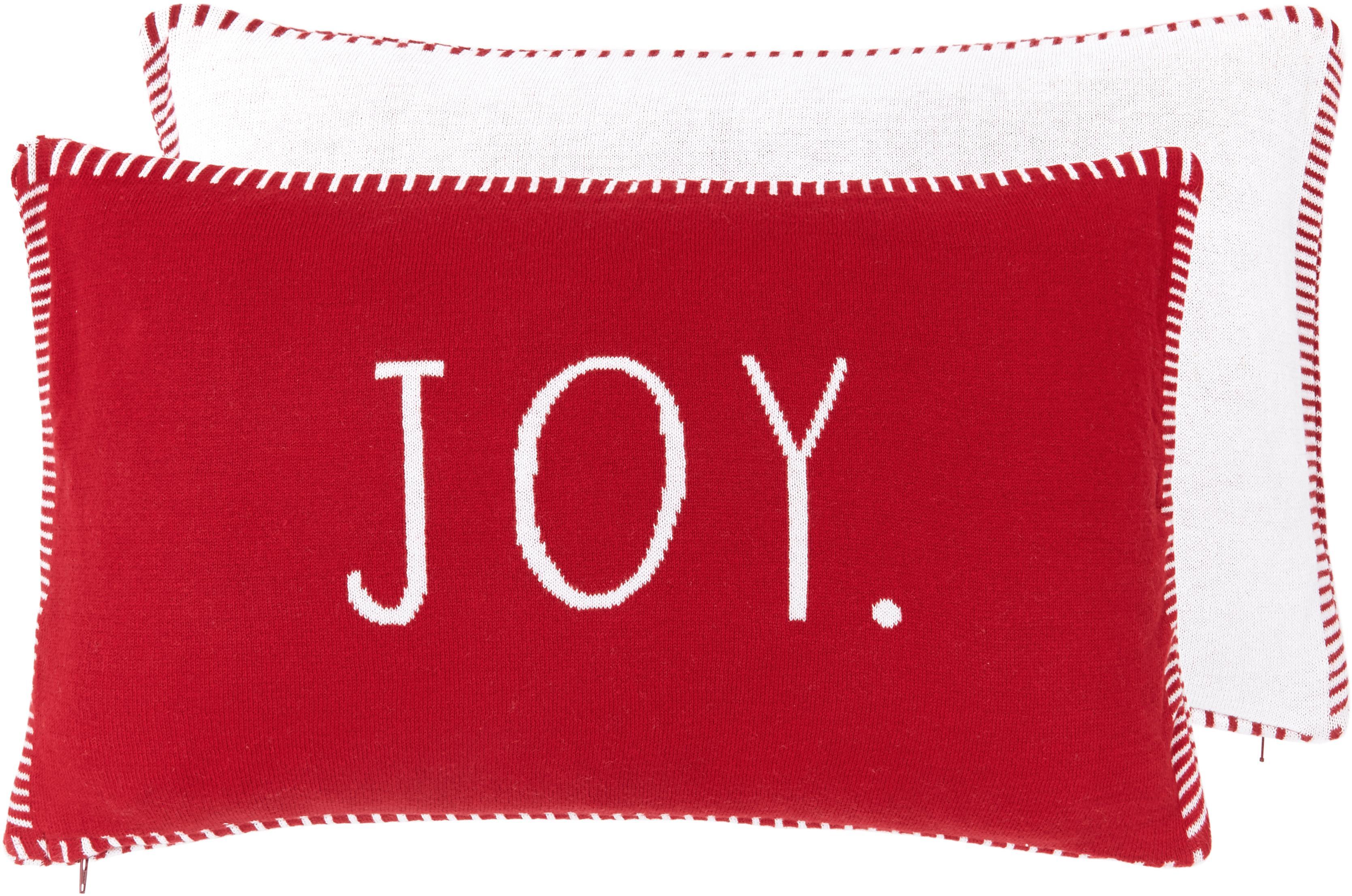 Funda de cojín de punto Jolanda, caras distintas, 100%algodón, Rojo, blanco crema, An 30 x L 50 cm