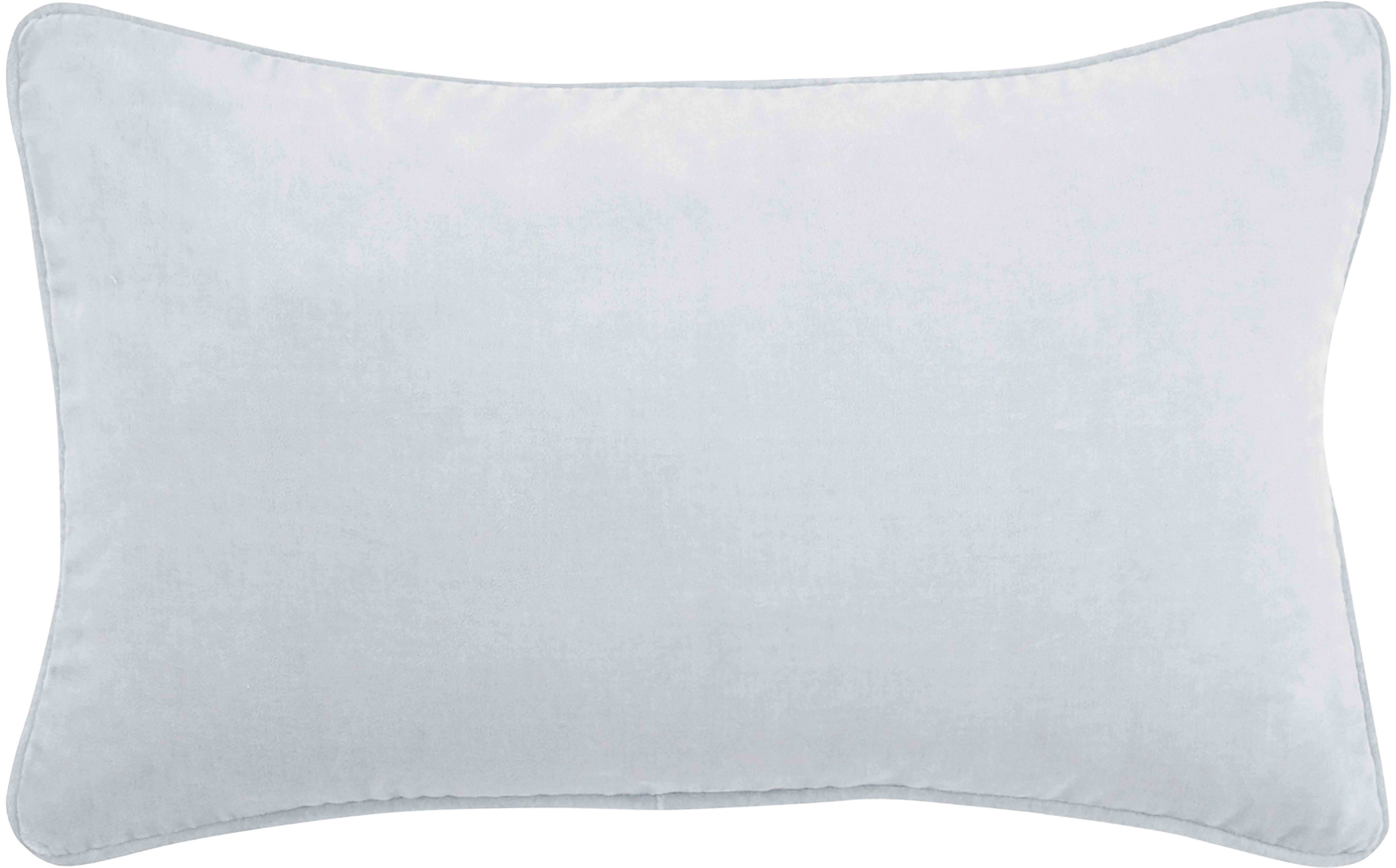 Federa arredo in velluto grigio chiaro Dana, 100% velluto di cotone, Grigio chiaro, Larg. 30 x Lung. 50 cm