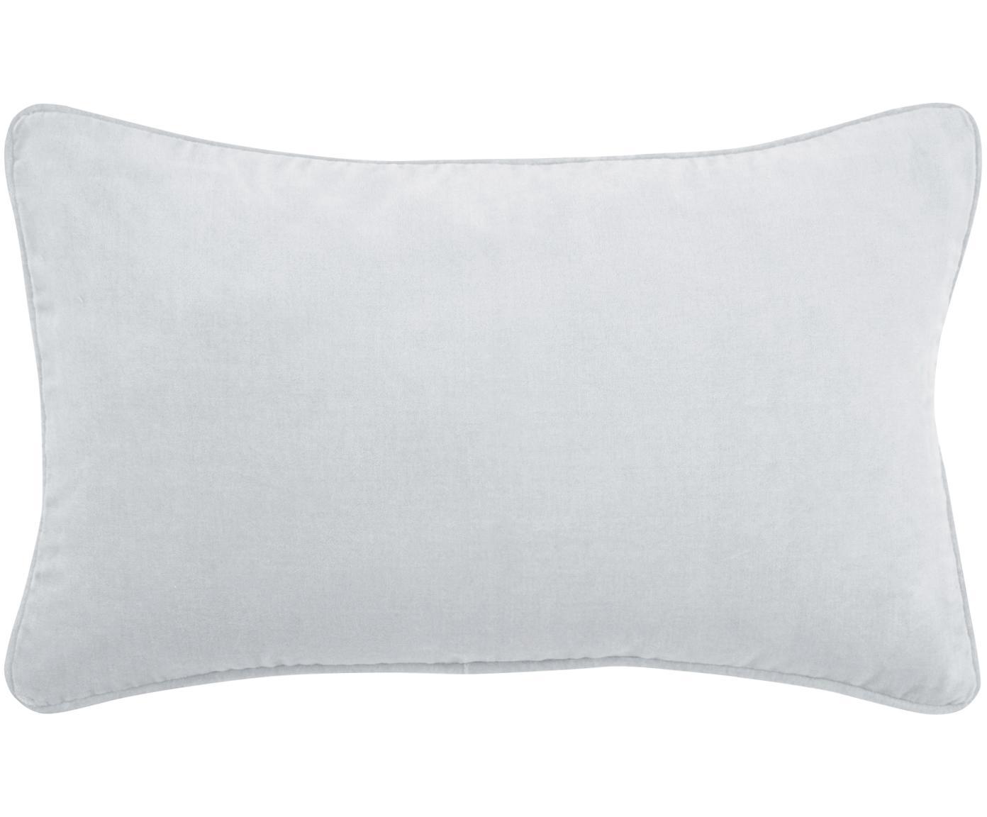 Effen fluwelen kussenhoes Dana in lichtgrijs, 100% katoen fluweel, Lichtgrijs, 30 x 50 cm
